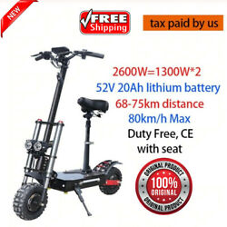 Powerful Electric Scooter 2600w 52v 20ah Off Road Fat Tire Dual Motor Wheel