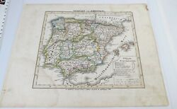 Antique 19th C Stielers Atlas N Xiv Map Spanien Portugal Hand Colored Spain