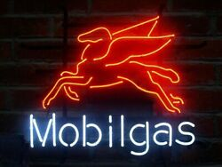 Mobilgas Pegasus Flying Horse Mobil Gas Oil 17x14 Neon Sign Light With Dimmer
