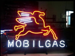 Mobilgas Pegasus Horse Mobil Gas Oil 17x14 Neon Sign Light Lamp With Dimmer
