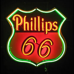 Phillips 66 Gasoline Motor Oil Gas 19x15 Neon Lamp Light Sign With Dimmer