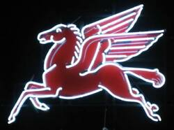 Pegasus Flying Horse Mobil Gas Oil 19x15 Neon Lamp Light Sign With Dimmer