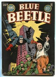 Blue Beetle 15 1942- Nazi Issue- Rare Golden Age Fn+