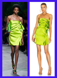 Spring 2020 Look 42 Lime Satin Strapless Dress As Seen As Selena 40 - 4