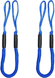 2pcs Blue Bungee Dock Line Mooring Rope Cords For Boat Kayak Stretch 4-5.5ft