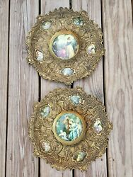 Vtg Rare Pair Stunning Heavy Ornate Brass Victorian Pictures Wall Decor In Spain