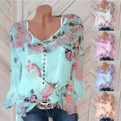 Women Casual Button Long Sleeve Floral Print T Shirt Top V Neck Tee Loose Blouse $13.46
