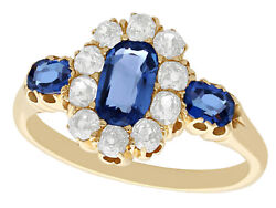 Antique 1.10ct Sapphire And 0.60ct Diamond 18k Yellow Gold Dress Ring Size 5.125