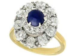 Antique 1.02ct Sapphire 1.83ct Diamond 18k Yellow Gold Cluster Ring Size 7