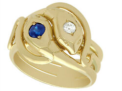 Antique Sapphire And Diamond 18k Yellow Gold Gent's Snake Ring European