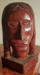 Carved Wooden Indian Head By Robin Leach Of Cherokee, Nc