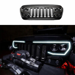 For Jeep Wrangler Jl 2018-2019 2020 Black Abs Front Central Grille Grill Trim