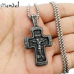 MENDEL Mens Russian Orthodox Crucifix Cross Pendant Necklace Stainless Steel Men $12.99