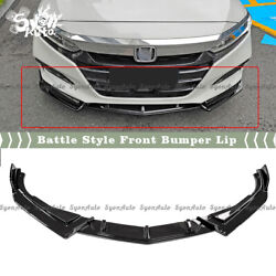 Fits 2018-2020 10th Honda Accord 3pc Gloss Black Battle Style Front Lip Splitter