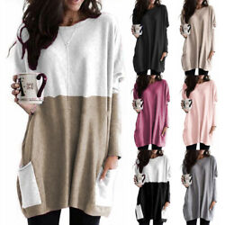 Women Crew Neck Long Sleeve T Shirt Casual Loose Pocket Blouse Solid Tunic Tops $14.99