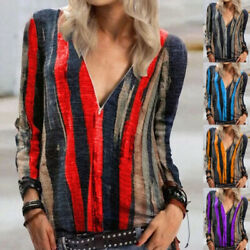 Womens Casual T Shirt Long Sleeve V Neck Zipper Tops Loose Floral Blouse Tunic $14.99