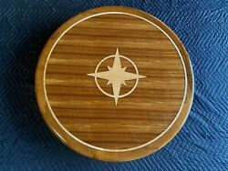 32 Round Teak Yacht/boat/rv Table High Gloss Finish Compass Rose Inlay