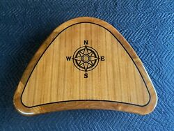 25 By 35teak Boat/rv Table High Gloss Finish With Compass Rose Inlay