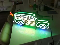 25x11 Neon Sign Antique Automobile Car Beer Bar Pub Party Wall Lamp New In Box