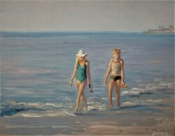 Sean Wu original oil painting 14x18 on stretched canvas beach $129.00