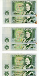 Bank Of England One Pound Lot Of 3 Consecutive Pairs Sommerset Au/unc Spots Uk