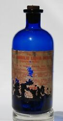 Cobalt Blue Bottle Acid Carbolic Liquid Merck Poison With Label And Solid Residue