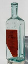 Clover Bitters Aqua Bottle With Embossing And Paper Label Augusta Maine