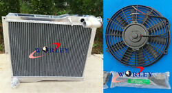 56mm Aluminum Radiator And Fan For Mg Mgb Gt Roadster 1977-1980 1978 1979 1980