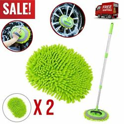 Microfiber Car Wash Brush Auto Cleaning Mop Long Handle Extension Soft Head