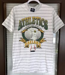 Vintage 1991 Oakland Athletics A's Mlb Striped Shirt Spell Out Logo 7 Rare Green