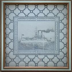 """Rare Antique Uss Iowa Steamship Etched Glass Transom Window Panel Framed 26.5"""""""
