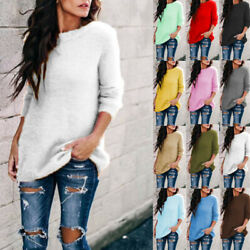 Women Crew Neck Knitting Sweater Long Sleeve Shirt Casual Solid Blouse Loose Top $13.99