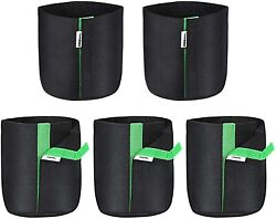 Vivosun 5-pack 1 Gallon Grow Bags Fabric Bags With Self-adhesion Sides For Plant