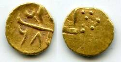 Extremely Rare Gold 1/2 Fanam 1/4 Rupee In Gold With Alamgir Sani Sec