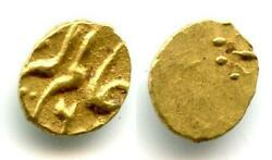 Extremely Rare Gold 1/2 Fanam 1/4 Rupee In Gold Dated To Ry 6 = 1759, Alamgir