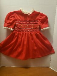 VINTAGE STYLE DRESS SMOCKING PRINCESS ANNE Red Cute Size 4 $22.50