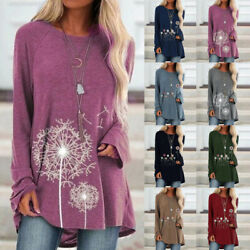 Women Crew Neck Long Sleeve T Shirt Floral Print Casual Blouse Loose Tunic Tops $14.99