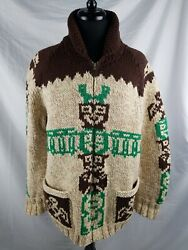 Vintage Handknitted Wool Cowichan Sweater Totem Whale Eagle Size M/l