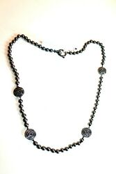 St. John Jewelry Necklaces Hematite Tone Pearls And Circle Cut Out Link Womenand039s