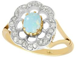 0.28 Ct Opal And 0.39 Ct Diamond 9 Ct Yellow Gold Dress Ring - Antique Circa 1900