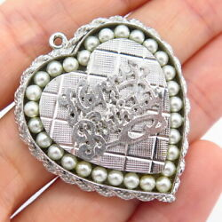 925 Sterling Silver Vintage Faux Pearl Happy Birthday Heart Design Pendant