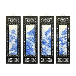 Chinese Mountain River Porcelain Blue And White Painting Wall Panel Set Cs5057