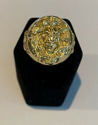 The Lion King Ring In 18k Yellow Gold, Made And Cast In Usa