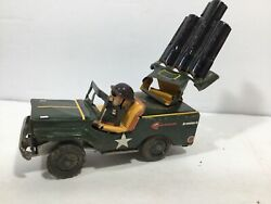 Vintage 1950and039s Mitsuhasi Anti-aircraft Jeep Tin Litho Friction Powered