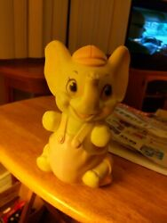 Vintage Sanitoy, Inc. Pink Overall Elephant Squeak Toy, Real Nice D2