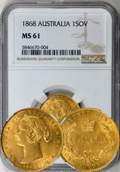 Australia 1868-sy Gold 1 Sovereign Ngc Ms-61 - Rare In Unc Undergraded