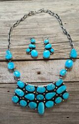 Navajo Bluebird Turquoise Cleopatra Necklace And Earrings - Bobby Johnson