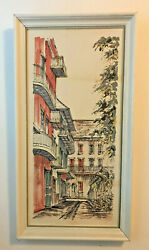2 Vintage Mid-century Line Drawing Framed Prints New Orleans Tall Narrow 14x8