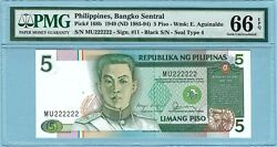1985-94 Philippines 5 Piso Solid Serial 222222 Pmg Cu66 Epq P168b Am2