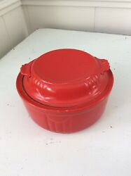 Vintage Hall#x27;s Superior Kitchenware Red Covered Casserole Baking Dish Made USA